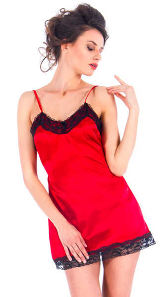 VIXSON - Vixson Black Lace Detailed Red Satin Night Wear