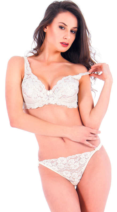 Vixson Lace Beige Color Bra Set - Thumbnail