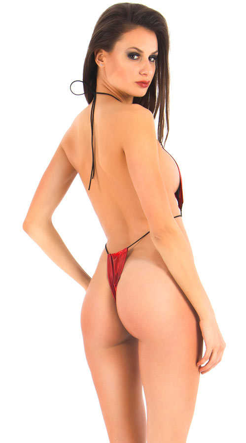 Vixson Red Metallic String Monokini