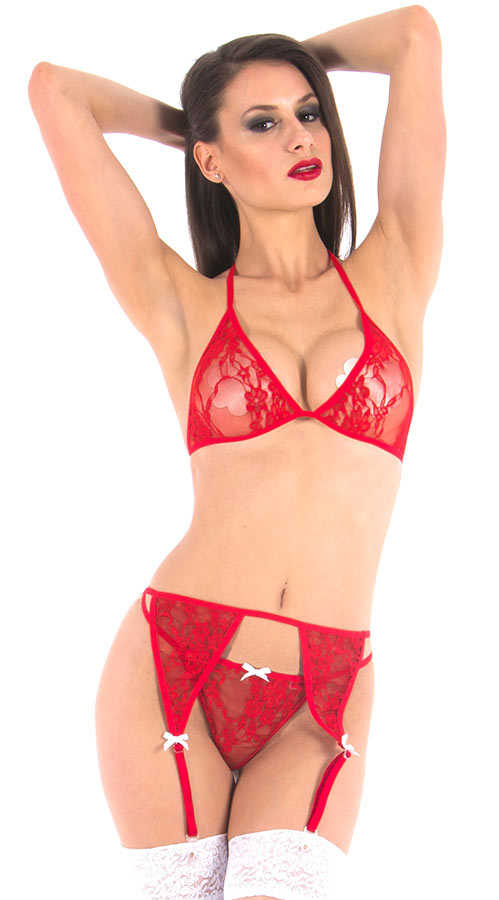 Vixson Red Sexy Look Garter Set