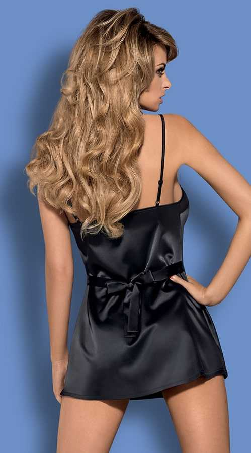 Vixson Short Cut Black Satin Night Wear