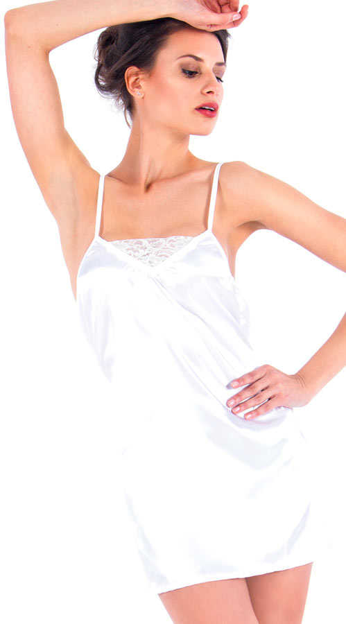 Vixson Short Cut White Satin Night Wear