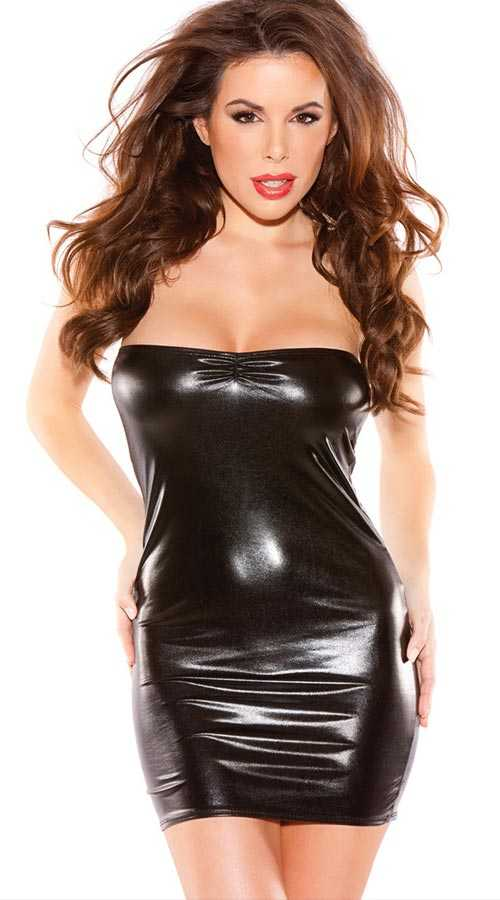 Vixson Wet Look Black Mini Dress - Thumbnail