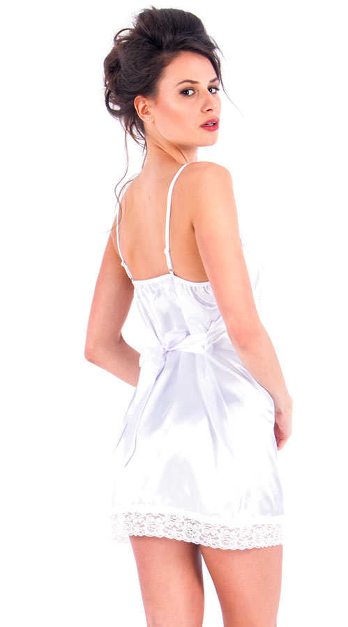 Vixson White Satin Night Wear